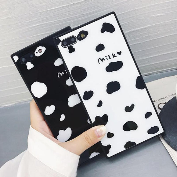 Cartoon Milk Letter Cow Spots Square Plastic Leather Phone Case Back Cover for iPhone 11 Pro Max/11 Pro/11/XS Max/XR/XS/X/8 Plus/8/7 Plus/7/6s Plus/6s/6 Plus/6 - halloladies