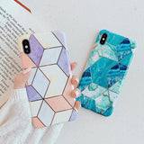 Plating Geometric Marble Phone Case Back Cover - iPhone 11/11 Pro/11 Pro Max/XS Max/XR/XS/X/8 Plus/8/7 Plus/7 - halloladies
