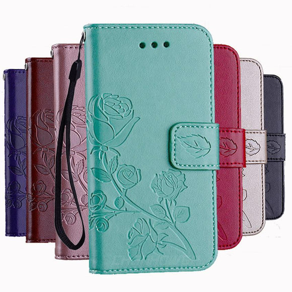 3D Flower Leather Wallet Flip Phone Case Back Cover for iPhone XS Max/XR/XS/X/8 Plus/8/7 Plus/7/6s Plus/6s/6 Plus/6 - halloladies