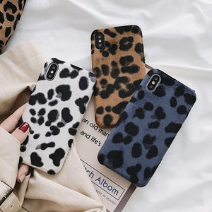 Retrro Furry Leopard Phone Case Back Cover for iPhone 11 Pro Max/11 Pro/11/XS Max/XR/XS/X/8 Plus/8/7 Plus/7 - halloladies