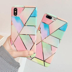 Colorful Geometric Marble Soft IMD Electroplated Phone Case Back Cover for iPhone 11 Pro Max/11 Pro/11/XS Max/XR/XS/X/8 Plus/8/7 Plus/7/6s Plus/6s/6 Plus/6 - halloladies