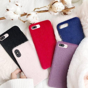 Solid Color Furry Phone Case Back Cover for iPhone 11/11 Pro/11 Pro Max/XS Max/XR/XS/X/8 Plus/8/7 Plus/7 - halloladies
