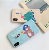 Love Heart Lucky Dinosaur TPU Phone Case Back Cover for iPhone XS Max/XR/XS/X/8 Plus/8/7 Plus/7/6s Plus/6s/6 Plus/6 - halloladies