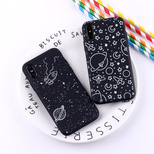 Outer Space Planet Stars Moon Spaceship Soft Matte Phone Case Back Cover - iPhone 11/11 Pro/11 Pro Max/XS Max/XR/XS/X/8 Plus/8/7 Plus/7 - halloladies