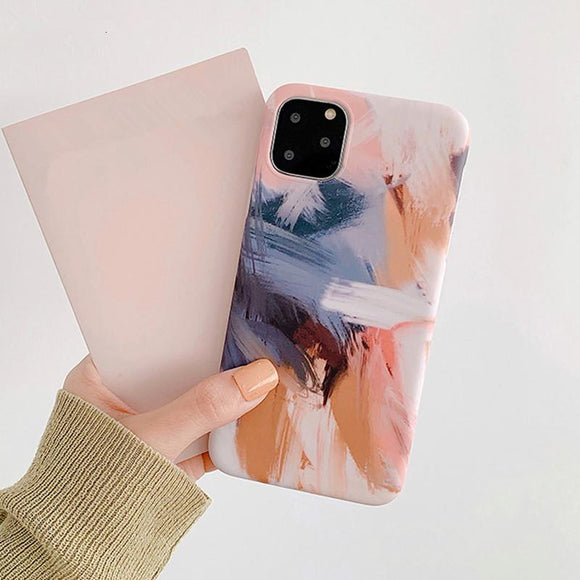 Watercolor Oil Painting Graffiti Phone Case Back Cover for iPhone 12 Pro Max/12 Pro/12/12 Mini/SE/11 Pro Max/11 Pro/11/XS Max/XR/XS/X/8 Plus/8 - halloladies