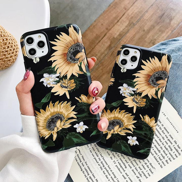 Retro Sunflower Soft IMD Phone Case Back Cover for iPhone 12 Pro Max/12 Pro/12/12 Mini/SE/11 Pro Max/11 Pro/11/XS Max/XR/XS/X/8 Plus/8 - halloladies