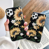 Retro Sunflower Soft IMD Phone Case Back Cover for iPhone 11 Pro Max/11 Pro/11/XS Max/XR/XS/X/8 Plus/8/7 Plus/7 - halloladies