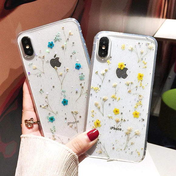 Transparent Real Dried Flower Phone Case Back Cover - iPhone 12 Pro Max/12 Pro/12/12 Mini/SE/11 Pro Max/11 Pro/11/XS Max/XR/XS/X/8 Plus/8 - halloladies