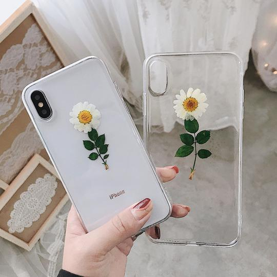 Real Flowers Dried Flowers Clear Phone Case Back Cover for iPhone 11 Pro Max/11 Pro/11/XS Max/XR/XS/X/8 Plus/8/7 Plus/7/6s Plus/6s/6 Plus/6 - halloladies