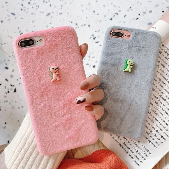 3D Cartoon Couples Dinosaur Warm Fuzzy Soft Phone Case Back Cover for Huawei Mate 30/P30/P20/Mate 20 Pro/Lite - halloladies
