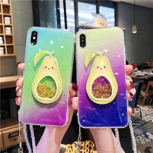 Cartoon 3D Avocado Gradient Phone Case Back Cover for iPhone 11/11 Pro/11 Pro Max/XS Max/XR/XS/X/8 Plus/8/7 Plus/7 - halloladies