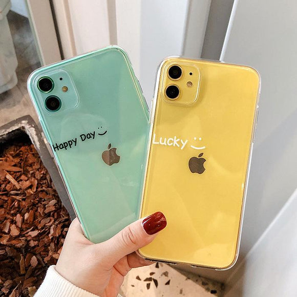 Luxury Letter Transparent Soft Phone Case Back Cover - iPhone 12 Pro Max/12 Pro/12/12 Mini/SE/11 Pro Max/11 Pro/11/XS Max/XR/XS/X/8 Plus/8 - halloladies