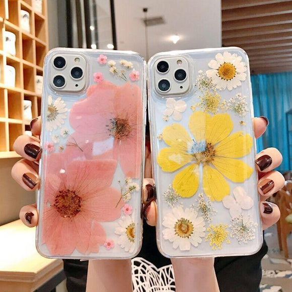 3D Real Dried Flower Clear Soft Phone Case Back Cover - iPhone 11/11 Pro/11 Pro Max/XS Max/XR/XS/X/8 Plus/8/7 Plus/7 - halloladies