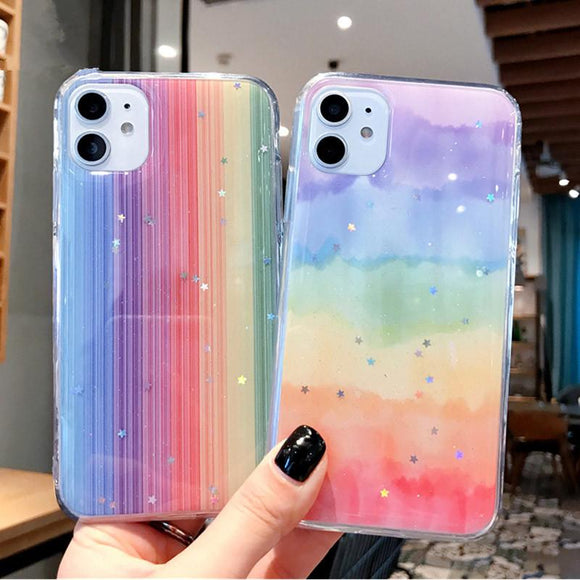 Glitter Bling Stars Colorful Soft Phone Case Back Cover - iPhone 12 Pro Max/12 Pro/12/12 Mini/SE/11 Pro Max/11 Pro/11/XS Max/XR/XS/X/8 Plus/8 - halloladies