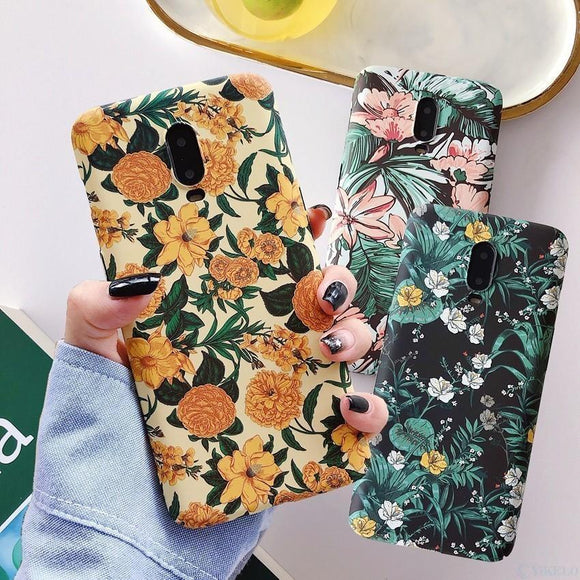Hard PC Retro Flower Plants Phone Case Back Cover for OnePlus 7 Pro/7/6T/6 - halloladies