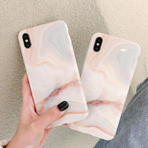Simple Marble Texture Soft Phone Case Back Cover - iPhone 11/11 Pro/11 Pro Max/XS Max/XR/XS/X/8 Plus/8/7 Plus/7 - halloladies