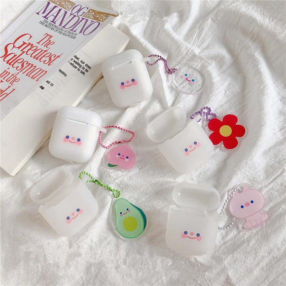 Cute Smile Blusher Face with Cartoon Decorations Airpods Case Wireless Bluetooth Earphone Cases for Airpods - halloladies