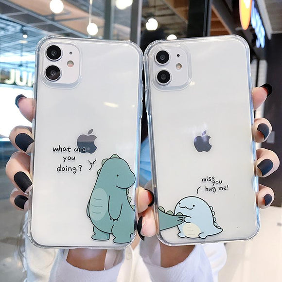 Ctue Cartoon Dinosaur Soft Phone Case Back Cover for iPhone 12 Pro Max/12 Pro/12/12 Mini/SE/11 Pro Max/11 Pro/11/XS Max/XR/XS/X/8 Plus/8/7 Plus/7 - halloladies