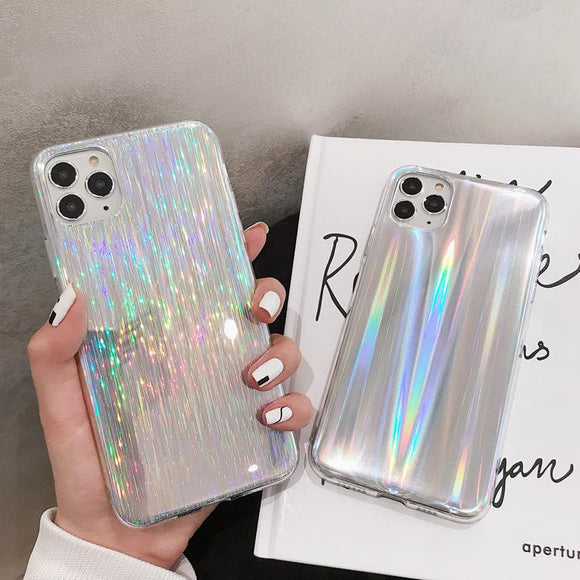 Laser Rainbow Color Soft Phone Case Back Cover - iPhone 12 Pro Max/12 Pro/12/12 Mini/SE/11 Pro Max/11 Pro/11/XS Max/XR/XS/X/8 Plus/8 - halloladies