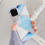 Luxury Plating Geometric Marble Phone Case Back Cover - iPhone 11 Pro Max/11 Pro/11/XS Max/XR/XS/X/8 Plus/8/7 Plus/7 - halloladies