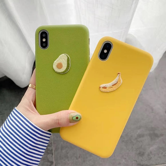 3D Banana Avocado Solid Color Soft Matte Phone Case Back Cover for iPhone 12 Pro Max/12 Pro/12/12 Mini/SE/11 Pro Max/11 Pro/11/XS Max/XR/XS/X/8 Plus/8 - halloladies