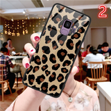 Tempered Glass Leopard Print Phone Case Back Cover for Samsung Galaxy S10E/S10 Plus/S10/S9 Plus/S9/S8 Plus/S8/Note9/Note8 - halloladies