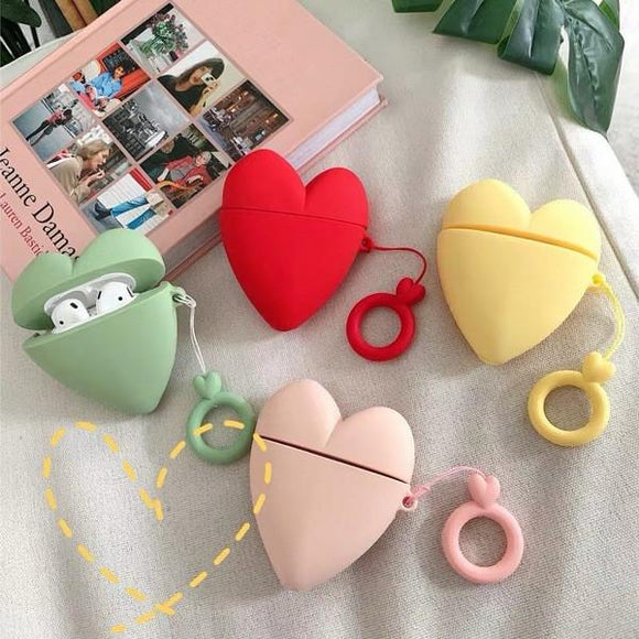 Airpods 3D Cute Love Heart Wireless Bluetooth Earphone Cases with Key Ring Lanyard - Candy Color - halloladies