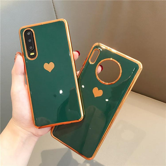 Plating Edge Solid Color Love Heart Soft Phone Case Back Cover for Huawei Mate 30/P30/P20/Mate 20 Pro/Lite - halloladies