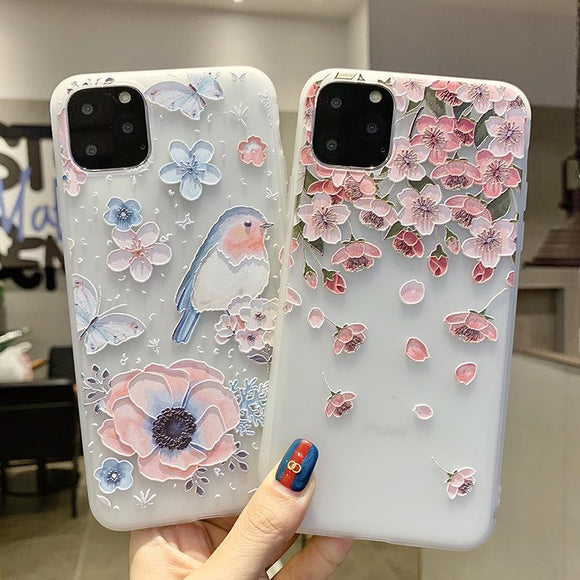 Cute Relief Flower Soft TPU Phone Case Back Cover - iPhone 11 Pro Max/11 Pro/11/XS Max/XR/XS/X/8 Plus/8/7 Plus/7/6s Plus/6s/6 Plus/6 - halloladies