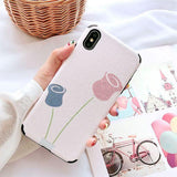 Retro Flower Matte Corner Protection Soft TPU Phone Case Back Cover - iPhone XS Max/XR/XS/X/8 Plus/8/7 Plus/7/6s Plus/6s/6 Plus/6 - halloladies