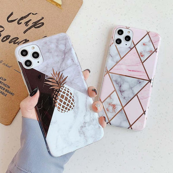 Luxury Plating Pineapple Marble Geometric Soft Phone Case Back Cover - iPhone 12 Pro Max/12 Pro/12/12 Mini/SE/11 Pro Max/11 Pro/11/XS Max/XR/XS/X/8 Plus/8 - halloladies
