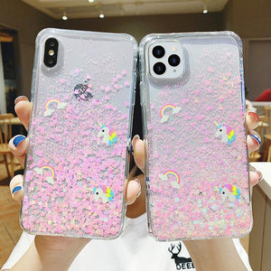 Glitter Heart Unicorn Rainbow Phone Case Back Cover for iPhone 11/11 Pro/11 Pro Max/XS Max/XR/XS/X/8 Plus/8/7 Plus/7 - halloladies