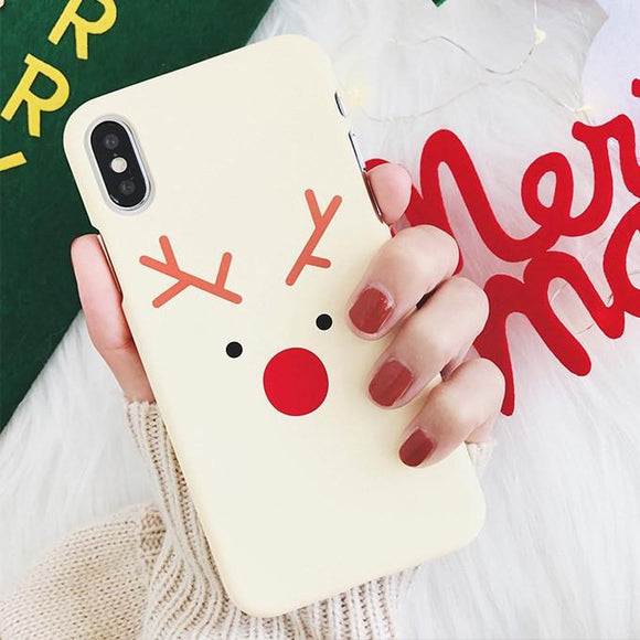 Cartoon Christmas Elk Patterned Hard PC Phone Case Back Cover - iPhone 11/11 Pro/11 Pro Max/XS Max/XR/XS/X/8 Plus/8/7 Plus/7 - halloladies