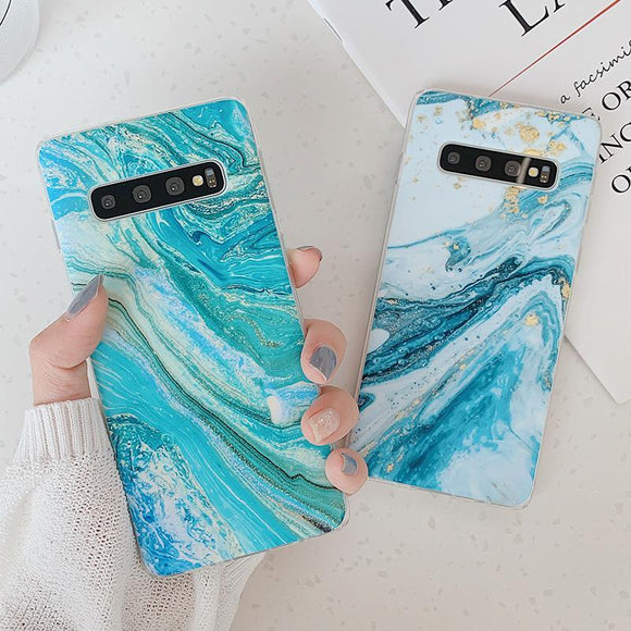 Classical Gradient Marble Ocean Current Matte Phone Case Back Cover - Samsung A80/A70 - halloladies