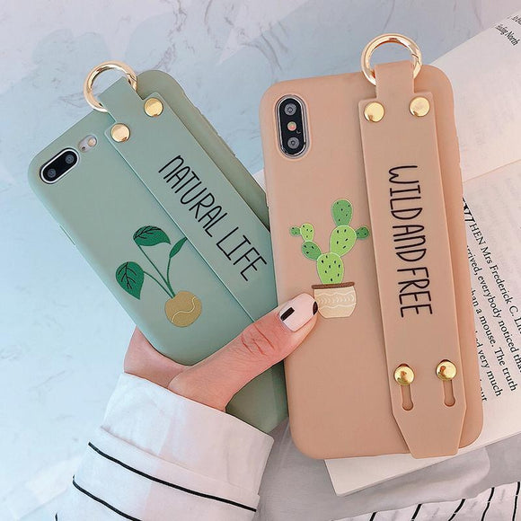 Cute Letters Cactus Bracket Wrist Strap Soft Phone Case Back Cover for iPhone 12 Pro Max/12 Pro/12/12 Mini/SE/11 Pro Max/11 Pro/11/XS Max/XR/XS/X/8 Plus/8 - halloladies
