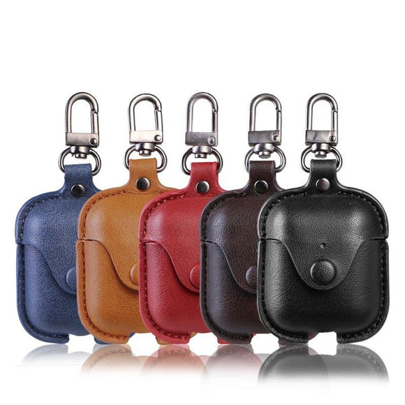 Solid Color Leather Key Chain Wireless Bluetooth Earphone Cases -Airpods Pro - halloladies