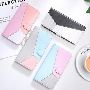 Three Colors Patchwork Flip Stand Wallet Phone Case Back Cover - iPhone 11/11 Pro/11 Pro Max/XS Max/XR/XS/X/8 Plus/8/7 Plus/7 - halloladies