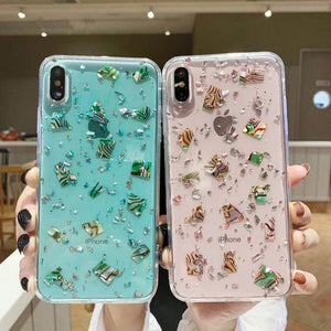 Glitter Bling Silver Foil Leopard Conch Shell TPU Phone Case Back Cover for iPhone XS Max/XR/XS/X/8 Plus/8/7 Plus/7/6s Plus/6s/6 Plus/6 - halloladies