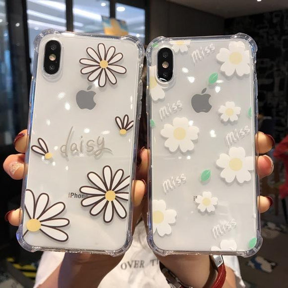 Simple Daisy Flower Air Bag Corner Transparent Soft TPU Phone Case Back Cover for iPhone 11/11 Pro/11 Pro Max/XS Max/XR/XS/X/8 Plus/8/7 Plus/7 - halloladies