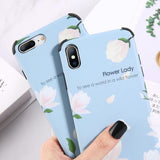 White Flower Letters Phone Case Back Cover for iPhone XS Max/XR/XS/X/8 Plus/8/7 Plus/7/6s Plus/6s/6 Plus/6 - halloladies