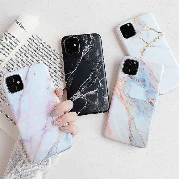 Matte Marble Phone Case Back Cover - iPhone 12 Pro Max/12 Pro/12/12 Mini/SE/11 Pro Max/11 Pro/11/XS Max/XR/XS/X/8 Plus/8 - halloladies