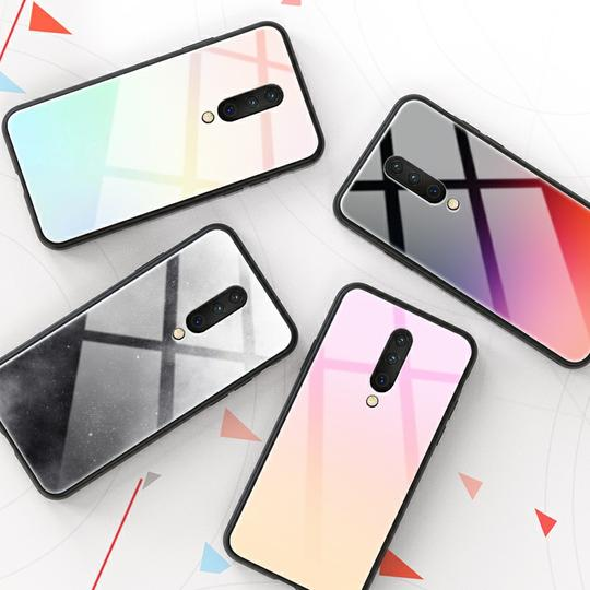 Luxury Colorful Gradient Tempered Glass Phone Case Back Cover for OnePlus 7 Pro/7/6T/6 - halloladies