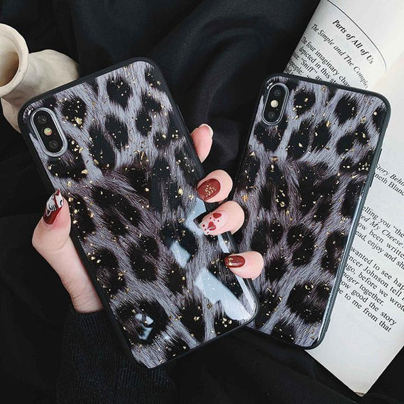 Vintage Leopard Pattern Gold Foil Powder Silicone Phone Case Back Cover for iPhone XS Max/XR/XS/X/8 Plus/8/7 Plus/7/6s Plus/6s/6 Plus/6 - halloladies