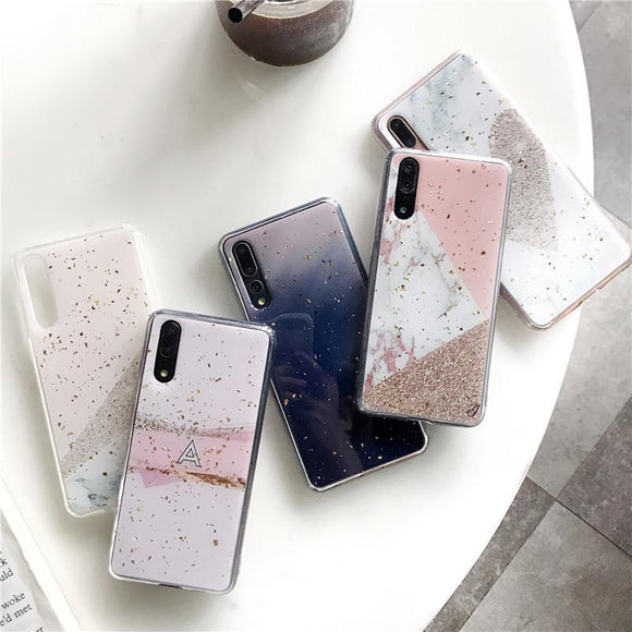 Gold Foil Soft TPU Glitter Marble Phone Case Back Cover for Huawei P30/P20/Mate 20 Pro/Lite - halloladies