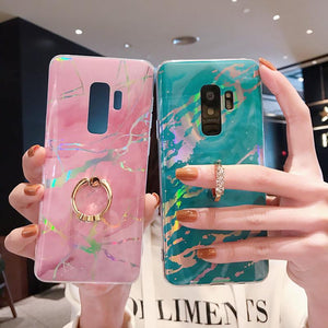 Luxury Marble Ring Holder Phone Case Back Cover - Samsung Galaxy S20 Ultra/S20 Plus/S20/S10E/S10 Plus/S10/S9 Plus/S9/S8 Plus/S8/Note 8/Note 9 - halloladies