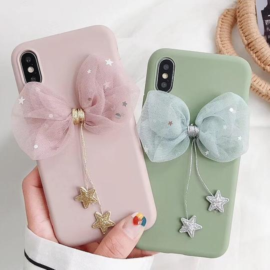 Luxury pink Bow soft Silicone Phone Case Back Cover for iPhone XS Max/XR/XS/X/8 Plus/8/7 Plus/7/6s Plus/6s/6 Plus/6 - halloladies