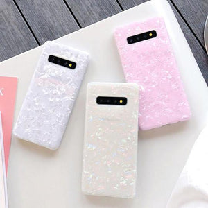 Magic Colorful Conch Shell Pattern Soft IMD Phone Case Back Cover for Samsung Galaxy S20 Ultra/S20 Plus/S20/S10E/S10 Plus/S10/S9 Plus/S9/S8 Plus/S8/Note 10 Pro/Note 10/Note 9/Note 8 - halloladies