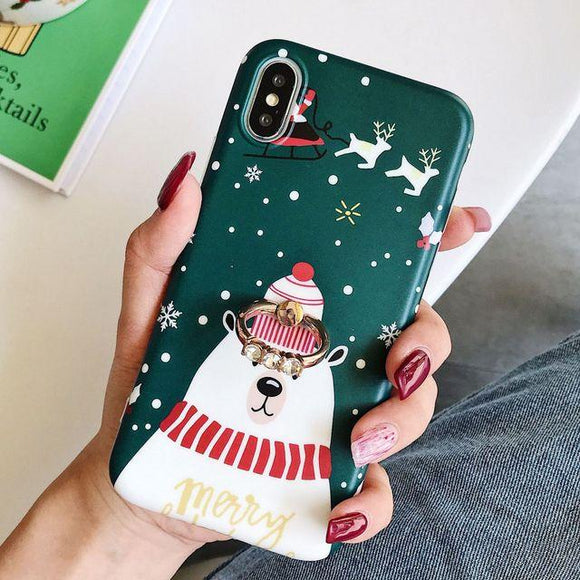 Cartoon Bear Christmas Elk with Ring Holder Phone Case Back Cover for iPhone 11/11 Pro/11 Pro Max/XS Max/XR/XS/X/8 Plus/8/7 Plus/7 - halloladies