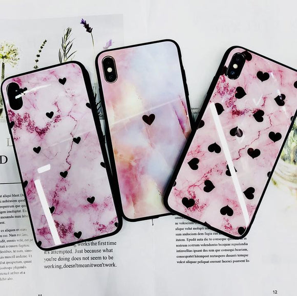 Pink Love Heart Marble Tempered Glass iPhone Case Back Cover for iPhone XS Max/XR/XS/X/8 Plus/8/7 Plus/7/6s Plus/6s/6 Plus/6 - halloladies