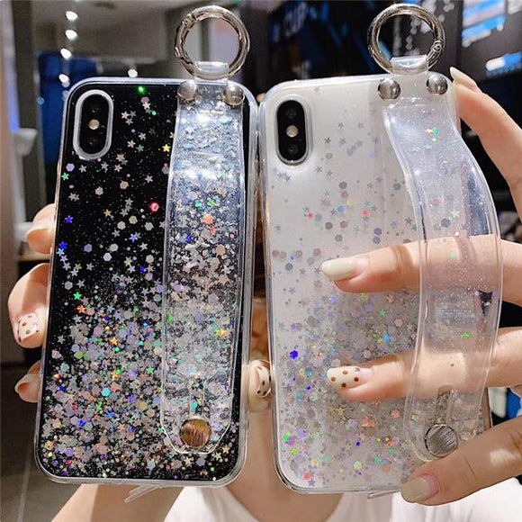 Gradient Glitter Powder Wrist Strap Soft TPU Phone Case Back Cover for iPhone XS Max/XR/XS/X/8 Plus/8/7 Plus/7/6s Plus/6s/6 Plus/6 - halloladies